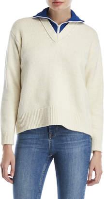 Sandro Quarter-Zip V-Neck Sweater