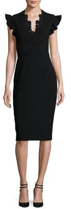 Rebecca Taylor Lace-Trim Crepe Sheath Dress, Black $495 thestylecure.com
