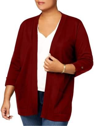 Karen Scott Plus Three-Quarter-Sleeve Cardigan