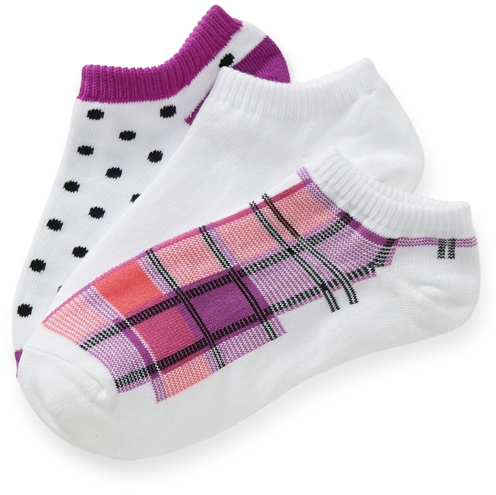 Aeropostale 3-Pack Plaid & Dot Ped Socks