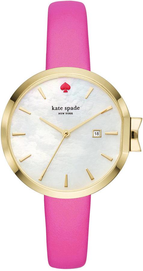 Kate Spadekate spade new york Women's Park Row Bougainvillea Pink Leather Strap Watch 34mm KSW1268