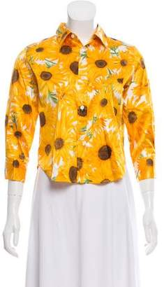 Dolce & Gabbana Silk Sunflower Print Top