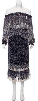 Saloni Off-The-Shoulder Printed Dress