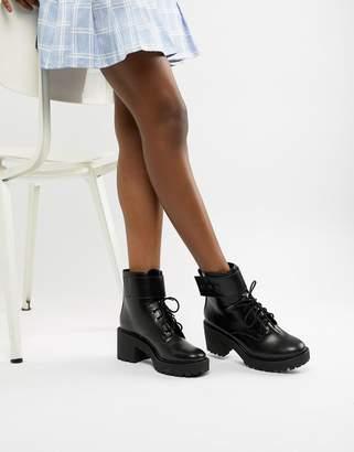 Bershka lace up heeled boot