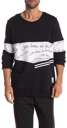 You Know I'm Bad White Scripts Printed Stripe Pullover Sweater