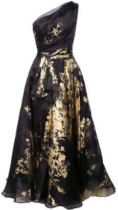 Marchesa one shoulder foil tea dress