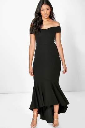 boohoo Boutique Open Shoulder Fishtail Maxi Dress