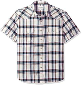 Lucky Brand Men's Casual Short Sleeve Plaid Western Button Down Shirt