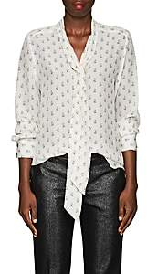 Barneys New York Women's Floral Silk Tieneck Blouse - Ivorybone