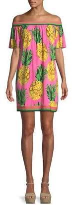Trina Turk Kelso Matte Jersey Off-the-Shoulder Pineapple Dress