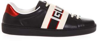 Gucci Black Leather Ribbon Sneakers