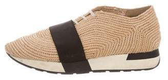 Balenciaga Round-Toe Raffia Sneakers
