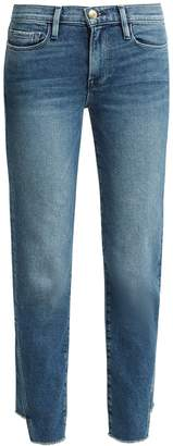 Frame Le Nouveau raw-hem straight-leg jeans