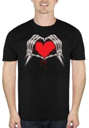 HALLOWEEN Skeleton Heart Men's Halloween Humor Graphic T-shirt, up to Size 5XL