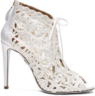 Aquazzura Satin Lattice Kya Bridal Booties $995 thestylecure.com