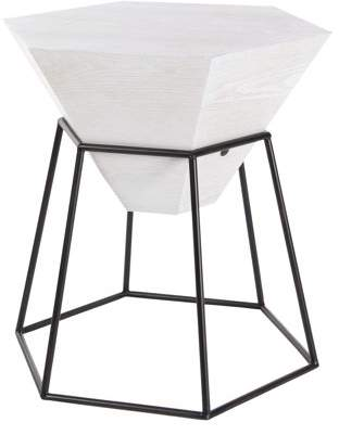 DecMode Decmode Modern 24 X 22 Inch White Hexagon Block Wooden Accent Table With Black Hexagonal Prism Frame Stand, White