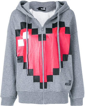 Love Moschino pixel heart print zipped hoodie