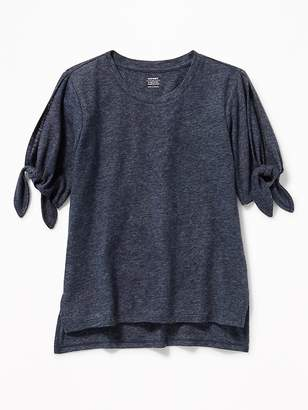 Old Navy Relaxed Linen-Blend Tie-Sleeve Tee for Girls