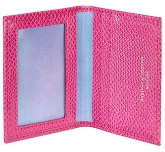 Aspinal of London Id Travel Card Case In Raspberry Lizard Pale Blue Suede