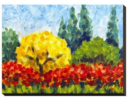 A Yellow Tree By Marielart Stretched Unframed Wall Canvas