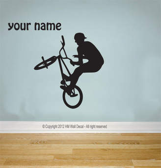 H&M Wall Decal Personalised Name and BMX Bike Wall Decal