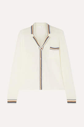 Skin - Eloise Striped Organic Cotton-blend Jersey Pajama Top - Cream 56a48fdcc