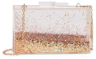 Pink Haley White & Gold Glitter Crossbody Clutch