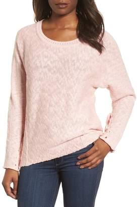 Caslon Mix Stitch Swing Cotton Sweater (Petite)