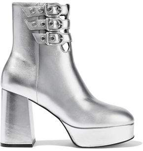 Opening Ceremony Joan Metallic Leather Platform Ankle Boots