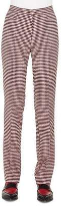 Akris Punto Francoise Straight-Leg Side-Zip Houndstooth Jersey Pants