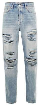 Topman Mens Blue Light Wash Ripped Original Jeans