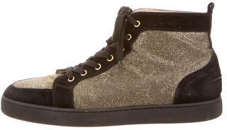 Christian Louboutin Metallic Orlato High-Top Sneakers $325 thestylecure.com