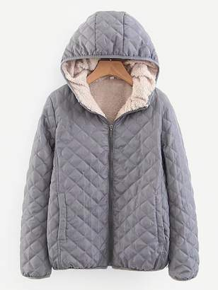 Shein Shearling Lined Quilted Hooded Puffer Jacket