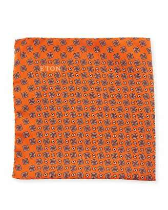 Eton Neat Square Silk Pocket Square, Orange