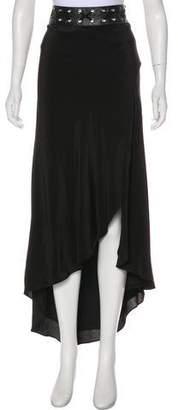 Haute Hippie Silk Leather-Trimmed Skirt