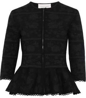 Carolina Herrera Metallic Wool-Blend Jacquard Peplum Jacket