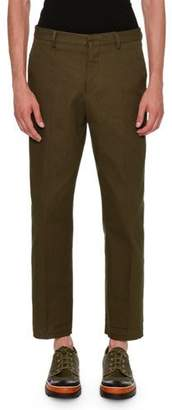 Valentino Textured Straight-Leg Pants, Olive