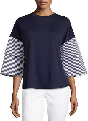 COMO BLU Como Blu 3/4 Tiered Sleeve Crew Neck T-Shirt - Womens