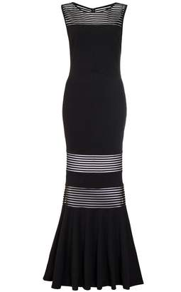 Quiz Black Mesh Insert Fishtail Maxi Dress