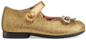Gucci Toddler glitter ballet flat with bow