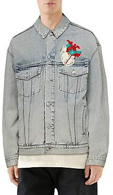 f7afb6032 Gucci Men's Stone Bleach Denim Jacket with Patches