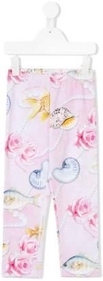 MonnaLisa shell, rose and pearl print leggings
