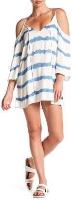 En Creme Striped Cold Shoulder Dress $54 thestylecure.com