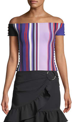 Opening Ceremony Striped Off-the-Shoulder Scalloped-Trim Top