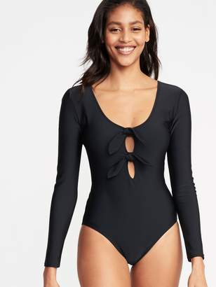 Old Navy Tie-Front Long-Sleeve Swimsuit for Women