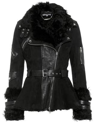 Alexander McQueen Fur-trimmed leather jacket