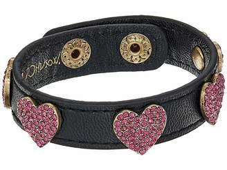 Betsey Johnson Multi Stone Heart Leather Snap Bracelet