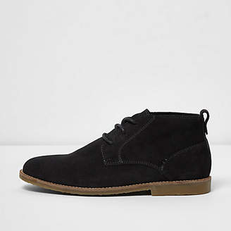 River Island Dark grey wide fit suede desert boots