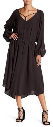 ASTR the Label Crochet Long Sleeve Midi Dress