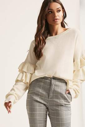Forever 21 Ribbed Ruffle-Sleeve Top